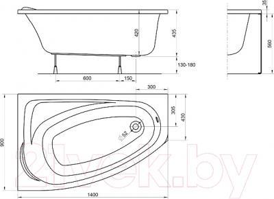 Ванна акриловая Kolo Mystery 140x90 L / XWA3741000 (с ножками) - схема