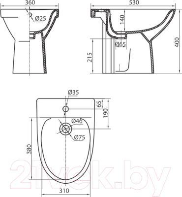 Биде напольное Kolo Runa L8500 - схема