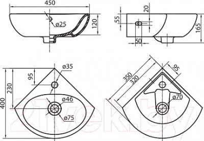 Умывальник настенный Kolo Runa 35 L82735 - схема
