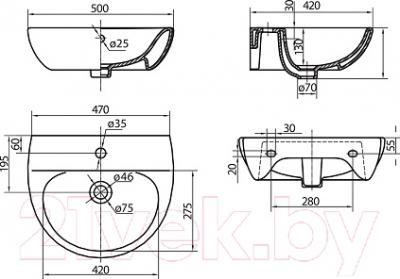 Умывальник Kolo Runa 50 L8115 - схема