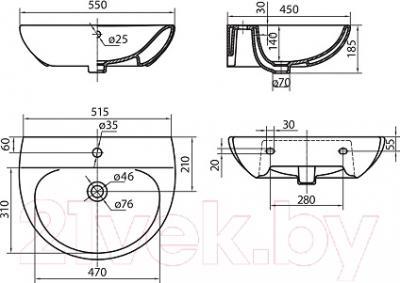 Умывальник Kolo Runa 55x45 L81155 - схема