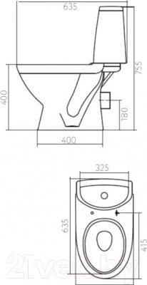 Унитаз напольный Kolo Runa L89202 - схема