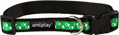 Ошейник Ami Play Joy (L, лапки,зеленый)