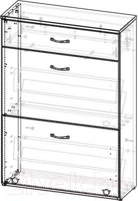 Тумба для обуви 3Dom СП523+СП523П (акация молдавская) - схема