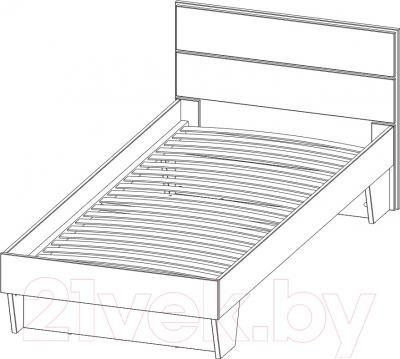 Односпальная кровать 3Dom СП003 (акация молдавская) - схема