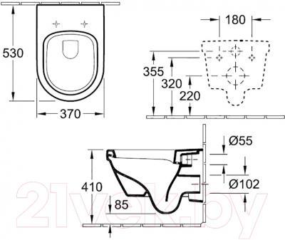 Унитаз подвесной Villeroy & Boch Omnia Architectura 5684 H101 - схема