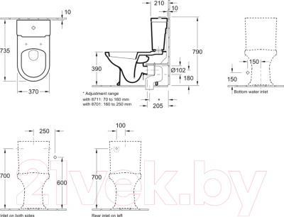 Унитаз напольный Villeroy & Boch Hommage 6662 10R1 - схема