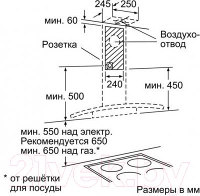 Вытяжка купольная Bosch DWA097A51