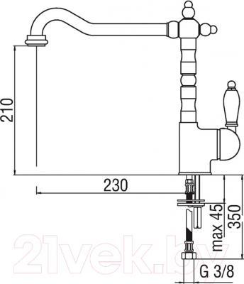 Смеситель Nobili Antica AT18113BR - схема