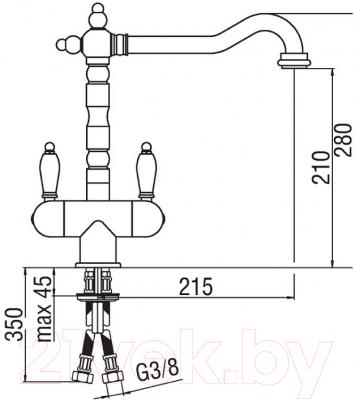 Смеситель Teknobili Antica AT18117CR - схема