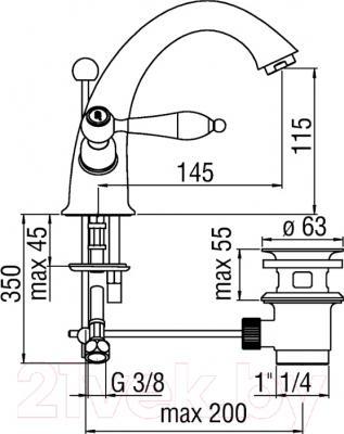 Смеситель Teknobili Antica AT31118/6BR - схема