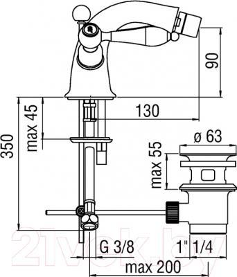 Смеситель Teknobili Antica AT31119/6CR - схема