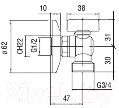 Вентиль угловой Nobili AV00121/1CR