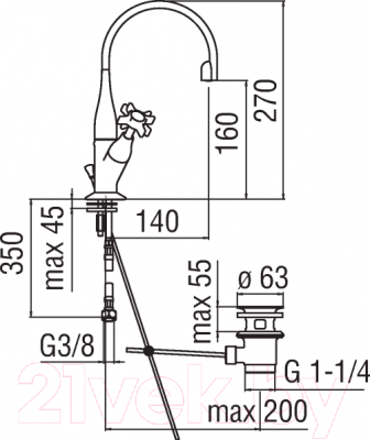 Смеситель Teknobili Carlos Primero CP218/1T3BR - схема