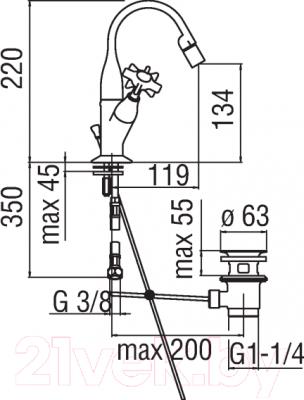Смеситель Teknobili Carlos Primero CP219/1T3BR - схема