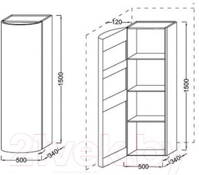 Шкаф-пенал для ванной Jacob Delafon Presqu'ile EB1115D-N21 (правый)