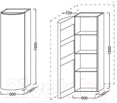 Шкаф-пенал для ванной Jacob Delafon Presqu'ile EB1115G-G1C (левый)