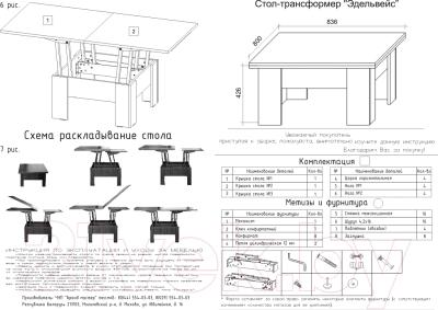 Стол-трансформер МКТ Молочный дуб - Инструкция по сборке