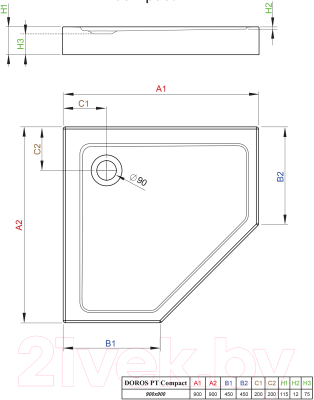 Душевой поддон Radaway Doros PT Compact 900x900 / SDRPTP9090-05