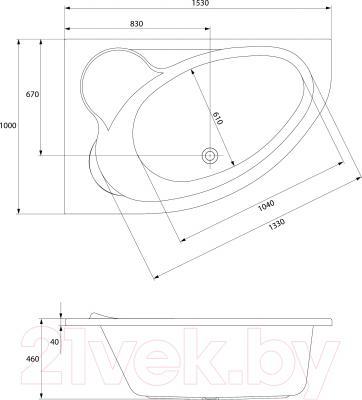 Ванна акриловая Cersanit Kaliope 153x100 R (без ножек) - схема