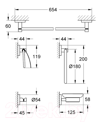Набор аксессуаров для ванной GROHE Essentials 40344001