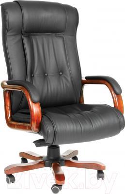 Кресло офисное Chairman 653 (черный, кожа)