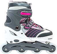 Ролики-коньки Ricky QF708 (L, серый/белый/розовый) -