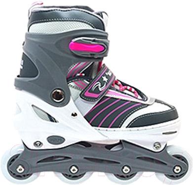 Ролики-коньки Ricky QF708 (L, серый/белый/розовый)