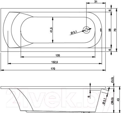 Ванна акриловая Riho Miami 170 (BB62005)