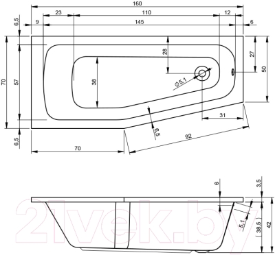 Ванна акриловая Riho Dola 160 R (BB33005)