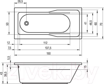 Ванна акриловая Riho Klasik 150 (BZ22005)