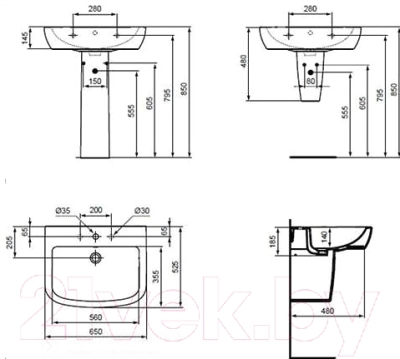 Умывальник Ideal Standard Tempo T056301