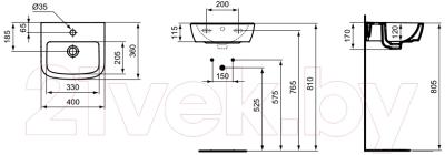 Умывальник Ideal Standard Tempo T056701