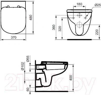 Унитаз подвесной Ideal Standard Tempo T328801 - схема