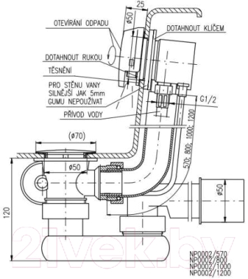 Сифон для ванны Slezak RAV NP0002-570