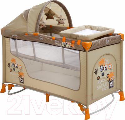 Кровать-манеж Lorelli Nanny 2 Rocker + (Beige Safari)