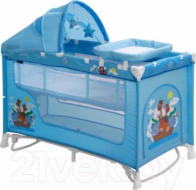 Кровать-манеж Lorelli Nanny 2 Rocker + (Blue Adventure)