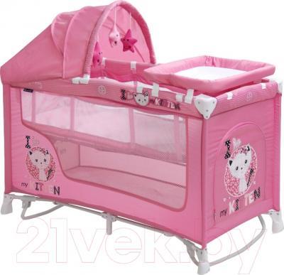 Кровать-манеж Lorelli Nanny 2 Rocker + (Pink Kitten)