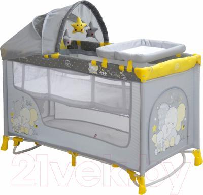 Кровать-манеж Lorelli Nanny 2 Rocker + (Yellow Elephant)