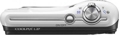 Компактный фотоаппарат Nikon Coolpix L27 White - вид спереди