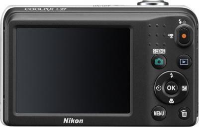 Компактный фотоаппарат Nikon Coolpix L27 White - вид сзади