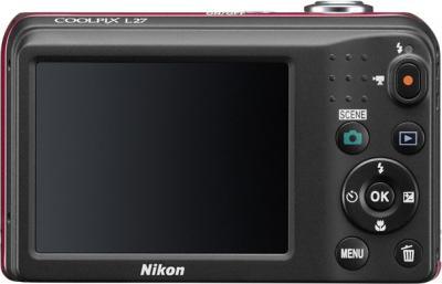 Компактный фотоаппарат Nikon Coolpix L27 Red - вид сзади