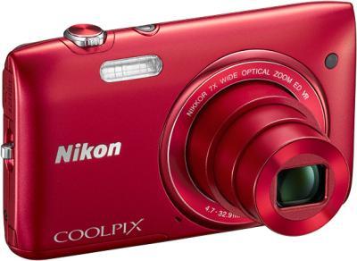 Компактный фотоаппарат Nikon Coolpix S3500 Red - общий вид