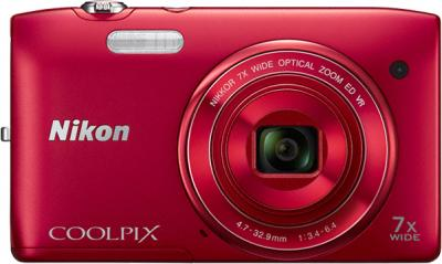 Компактный фотоаппарат Nikon Coolpix S3500 Red - вид спереди
