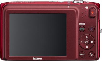 Компактный фотоаппарат Nikon Coolpix S3500 Red - вид сзади