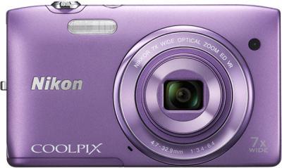 Компактный фотоаппарат Nikon Coolpix S3500 Purple - вид спереди