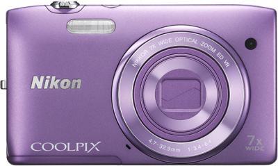 Компактный фотоаппарат Nikon Coolpix S3500 Purple - вид спереди с закрытым объективом