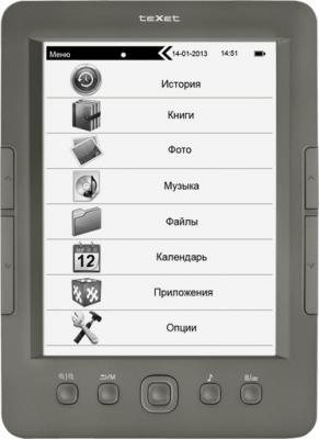 Электронная книга TeXet TB-146SE (Gray) - фронтальный вид