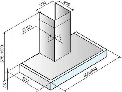 Вытяжка Т-образная Elikor Агат 90 (нержавеющая сталь/белый) - схема