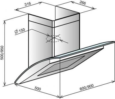 Вытяжка декоративная Elikor Аквамарин 60 (серебристый) - схема